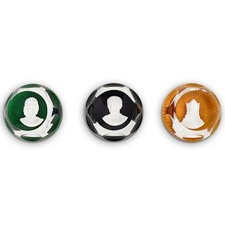(3Pc) Baccarat Cameo Glass Paperweights