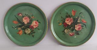 Pair of Antique French Tole Paint and Floral Decorated Platters