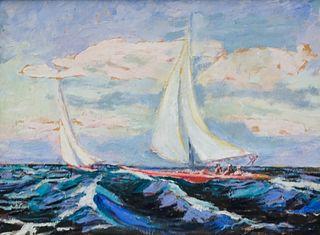Impressionist Seascape With Sailboats