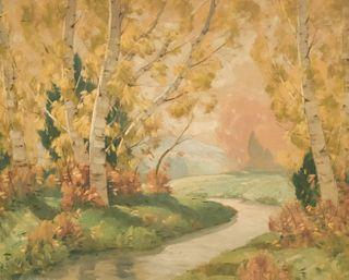 Cecil Chichester, Stream With Birch Trees