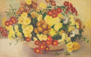 Nellie Ward Haller, Still Life With Chrysanthemums