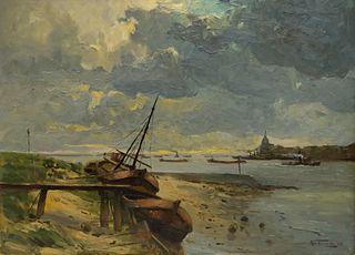 """Dutch School, """"River by Dordrecht"""""""