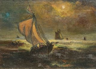 European School, Seascape Nocturne With Ships