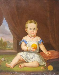 American School, Portrait of a Child With Orange