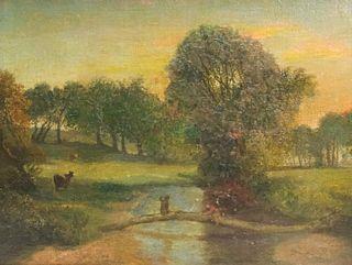 Primitive Landscape, Lemon Gold Frame