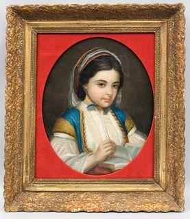 European School, 19th Century Portrait of a Girl