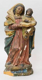 Early Italian Carved Santos Mary & Baby Jesus
