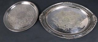 Two Large Silver Plated Trays
