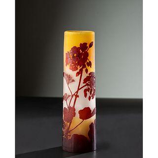 Émile Gallé, Red Floral Cylindrical Vase