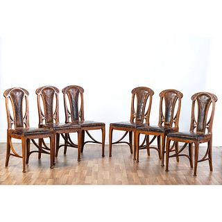 Six Art Nouveau Dining Chairs, in the Manner of Louis Majorelle