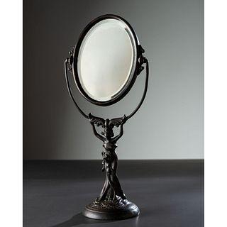 An Art Nouveau Figural Vanity Mirror
