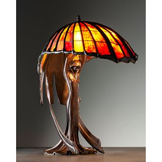 After Peter Behrens, Figural Table Lamp