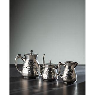 Kayserzinn, Three-Piece Jugendstil Tea Service