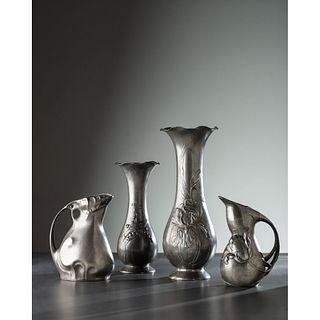 Kayserzinn, Two Jugendstil Vases and Two Pitchers