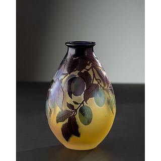Émile Gallé, Vase with Plums