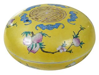 Chinese Yellow Ground Porcelain Box and Cover