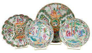 Four Rose Medallion Porcelain Platters