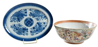 Chinese Export Punch Bowl and Platter