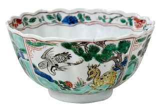 Small Chinese Famille Verte 'Qilin' Porcelain Bowl