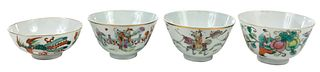 Four Small Chinese Enameled Porcelain Bowls