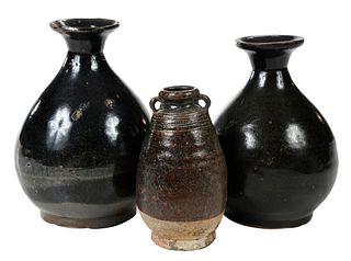 Two Chinese Brown Glazed Vases, Thai Stoneware Jar