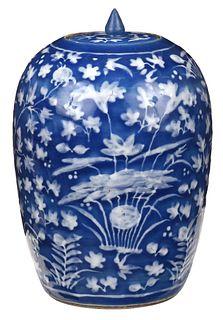 Chinese Blue Ground and Slip Porcelain Jar