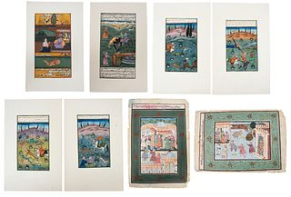 Group of Eight Painted Mughal Manuscript Pages