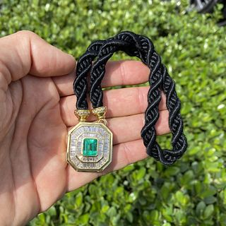 Emerald, Diamond and 18K Necklace