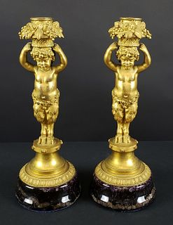 Pair of French Gilt Bronze Candlesticks Raised on a Blue John Circular Base, Circa 1880