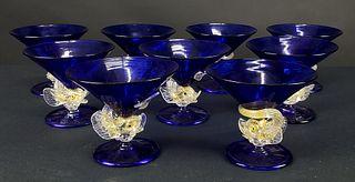 Set of 12 Venitian Champagne Glasses, C. 1930's