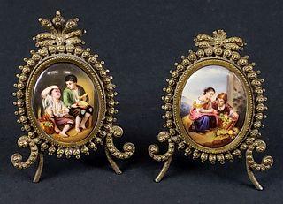 Pair of Berlin Miniature Porcelain Plaques w/ Bronze Frames, Circa 1900