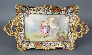 19th C. French Champleve Enamel & Bronze Tray