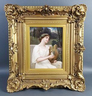 Late 19th C. Exquisite KPM Porcelain plaque of Woman