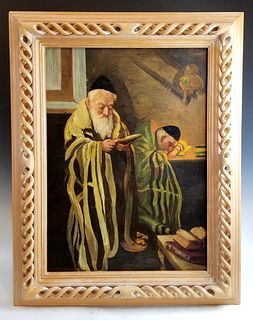 19th C. Painting of Rabbi Signed