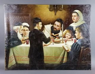 """Oil on Canvas """"Passover Dinner"""""""