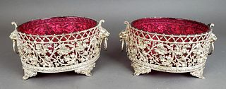 Pair of European Silverplated and Cranberry Glass Bowls
