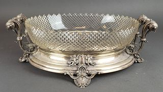 Euorpean Silver and Cut Glass Centerpiece