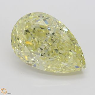 11.15 ct, Natural Fancy Light Yellow Even Color, IF, Pear cut Diamond (GIA Graded), Appraised Value: $399,100