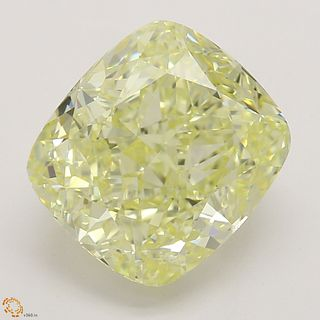 3.38 ct, Natural Fancy Yellow Even Color, VVS1, Cushion cut Diamond (GIA Graded), Appraised Value: $78,700