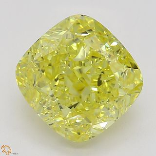 1.56 ct, Natural Fancy Vivid Yellow Even Color, VVS2, Cushion cut Diamond (GIA Graded), Appraised Value: $66,700