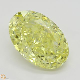 4.03 ct, Natural Fancy Intense Yellow Even Color, SI1, Oval cut Diamond (GIA Graded), Appraised Value: $176,900