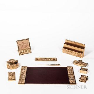 Tiffany Studios Ten-piece Gilt Bookmark Pattern Desk Set