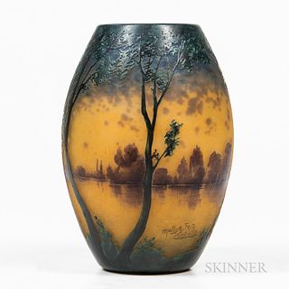 Muller Fres Painted Cameo Glass Vase