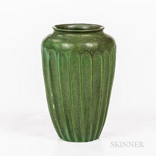 Grueby Pottery Fluted Matte Green Vase