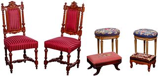 Chair and Stool with Needlepoint Upholstery Assortment