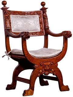 Dagobert-Style Carved Oak Curule Chair