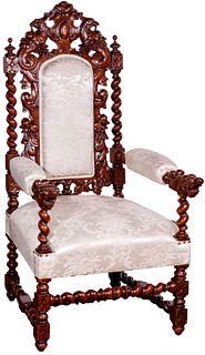 Throne-Style Mahogany Armchair