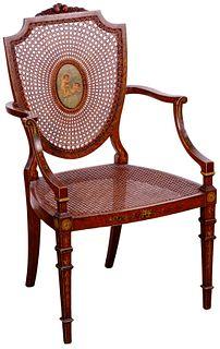 Victorian Mahogany and Cane Shield Back Armchair