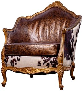 Victorian Style Cowhide and Leather Gilt Armchair