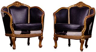 Victorian Style Cowhide and Leather Gilt Barrel Chairs
